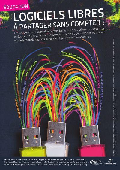 Aperçu de l'affiche de sensibilisation au logiciel libre pour l'éducation. Crédit Antoine Bardelli. Source Wikimedia Commons