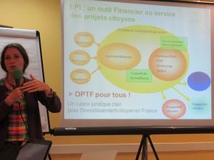 Christel Sauvage, présidente de l'association Énergie Partagée, a présenté l'outil financier du fonds d'investissement solidaire